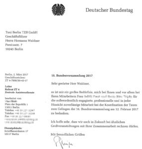Deutscher Bundestag dankt Taxi Berlin