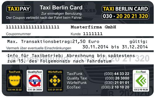 Taxi Berlin Card - Beispiel