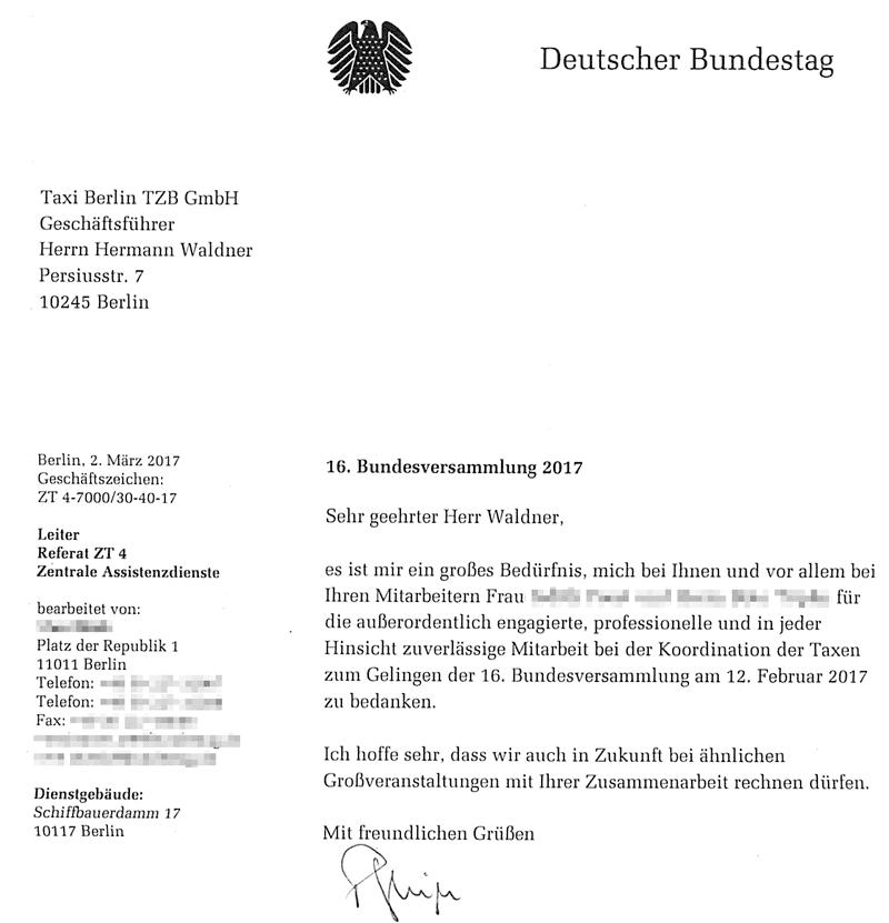 Dank des Deutschen Bundestages an Taxi Berlin